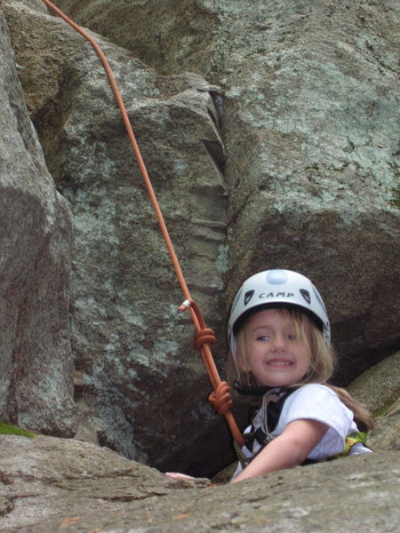 Kayde on her first send on real rock outside! Go KD! picture take 60% of the way up where you come out of the chimney.