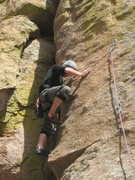 Rock Climbing Photo: Christian continuing up Stealth Made Man.