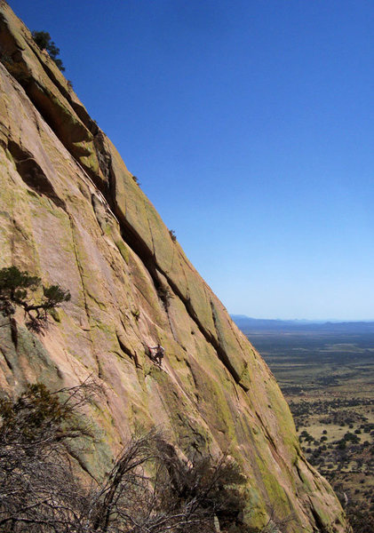 Rock Climbing Photo: Climber on top of first pitch on Ewephoria.