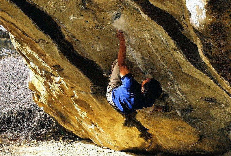 Rock Climbing Photo: Luna cruising to the 3 finger pocket on Big   Joe
