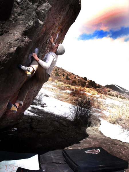 """Jason Baker showing the love for """"Hickey's, V7.""""  Millennium Boulder, Colorado.<br> <br> Photo by:  Luke Childers."""