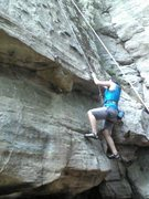 Rock Climbing Photo: The crux of  swiss cheese... smear and reach!