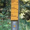 Trail marker for Les Trois Pucelle living room...