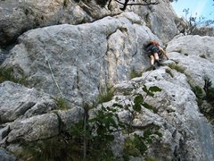 Rock Climbing Photo: Descending the ramp from the Grande Pucelle
