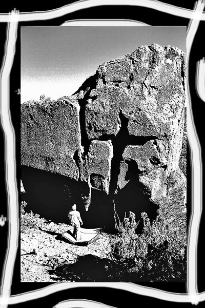 Rock Climbing Photo: bouldering at the pond, sign of the cross boulder