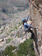 Rock Climbing Photo: Erica Bigio heads up the arete after doing the han...