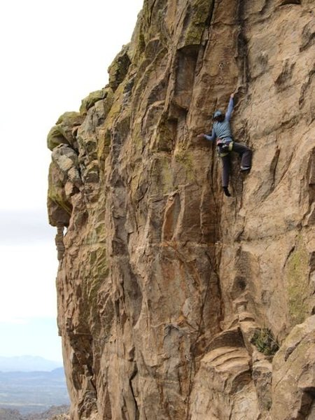 Rock Climbing Photo: Erica Bigio nearing some hard moves at the top of ...