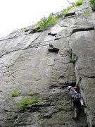 Sara crushing the Southern Pillar- Seneca Rocks, WV