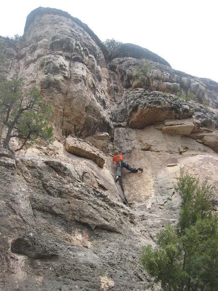 Rock Climbing Photo: Begin stemming!