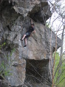 Rock Climbing Photo: Chalking before the final overhang