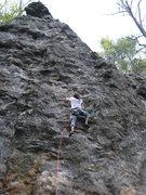 Rock Climbing Photo: James cruising up Lies and Propaganda