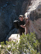 Rock Climbing Photo: J on the exposed, but easy ramp finish to summit J...