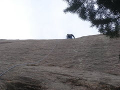 Rock Climbing Photo: Dragging a rope on the Ladder Route.  This line fo...