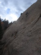Rock Climbing Photo: Brian on the Crux of Robertson Wall.