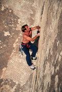 Rock Climbing Photo: Tony Moser leading Thin Flakes
