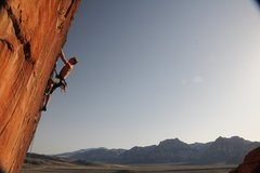 Rock Climbing Photo: somewhere near the crux on this fingery, fun route