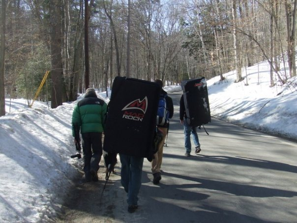 Heading to blackjack during a winter session.<br> <br> Blackjack is a great winter bouldering spot.