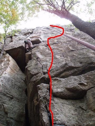 Rock Climbing Photo: Psyche Out.  The crux starts as you move rightward...
