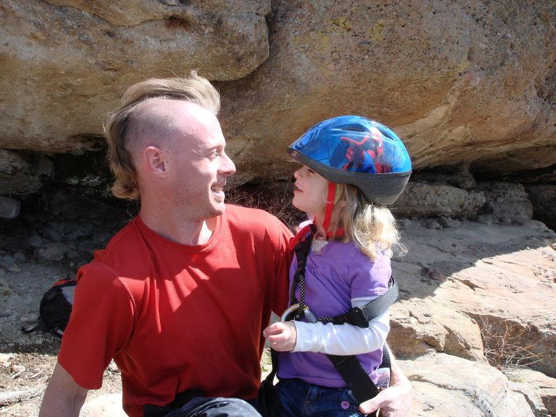Rock Climbing Photo: Norah checking out Dads new hair cut