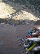 Rock Climbing Photo: Watching the following party from the top of pitch...