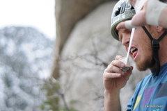 Rock Climbing Photo: Scotty tapin' up