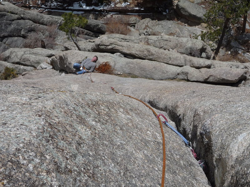 Looking down the crack to the first belay.