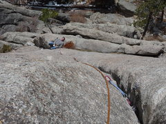 Rock Climbing Photo: Looking down the crack to the first belay.