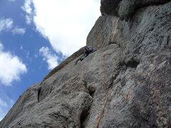 Rock Climbing Photo: Heading up the original last pitch.
