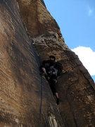 Rock Climbing Photo: thin crack on P1 (photo by Jascha)