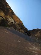 Rock Climbing Photo: thin traverse on P1 (photo by Jascha)