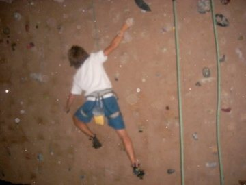 climbing in the barn at school<br>