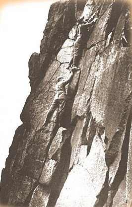 Rock Climbing Photo: Aid climbing 1890's. Hold onto that bloody foot !