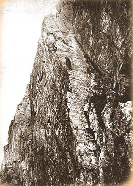 FA Botterills slab 1903. Long pitches with no protection. 5.7+