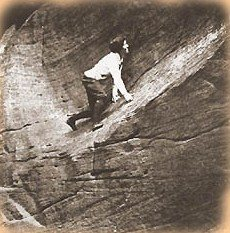 Rock Climbing Photo: Lady soloing a 5.9 1920