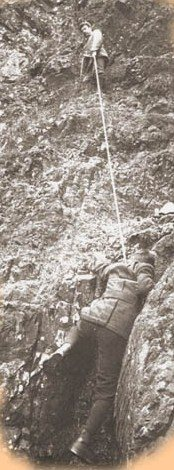 1895.. O.G.Jones takes a firm stance belay ...sometimes used on the Rafael Reef FA's in 2009