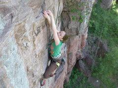 Rock Climbing Photo: Abby matching on small holds.
