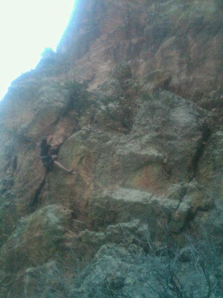 Rock Climbing Photo: Mitch working through the crux.