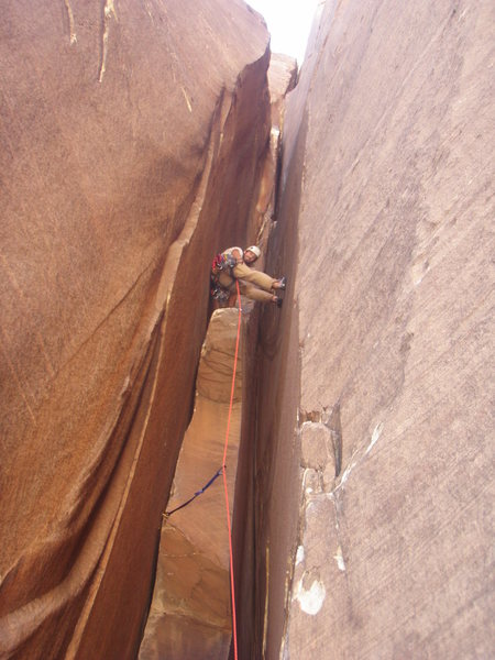 Rock Climbing Photo: Mark Collar enjoying a wide chimney pitch on Epine...