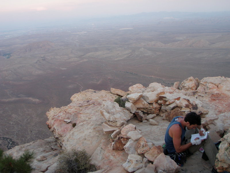 Summit register and bivy site atop Epinephrine