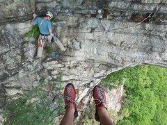 Rock Climbing Photo: Following Thin Slabs Direct