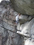 Rock Climbing Photo: Unknown climber near the top of CCK Direct