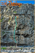 Rock Climbing Photo: Helps to see where it actually is.  The blue line ...