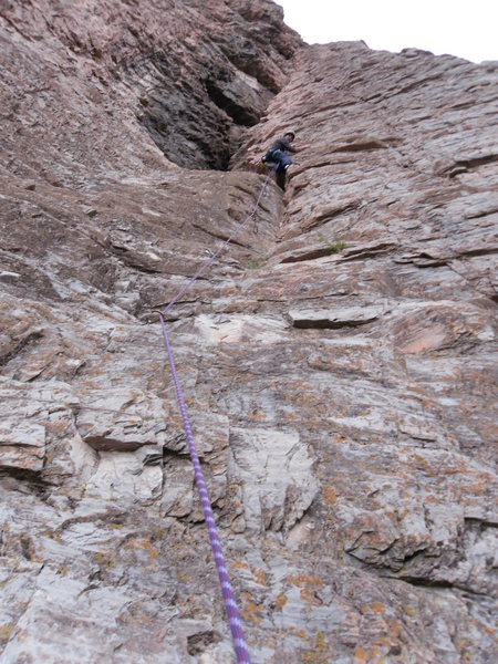 Rock Climbing Photo: Lionel leading the first pitch of hitchhikers guid...