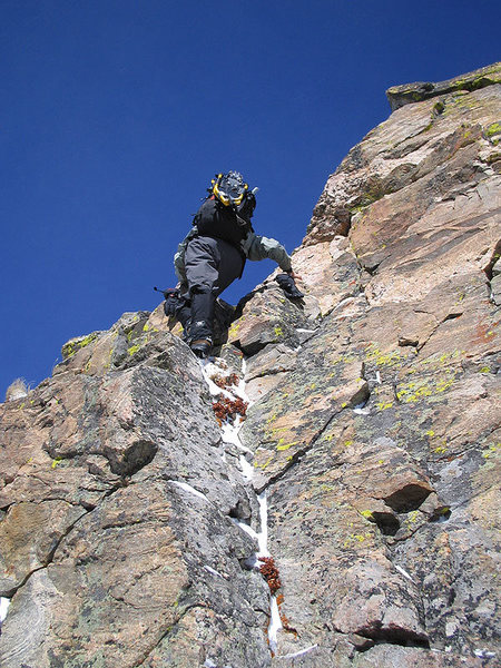 Climbing out of the notch.
