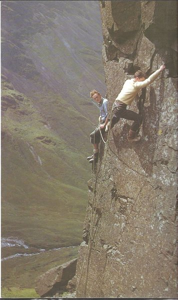 P.Ross belayed by Des Oliver 1954 on Kern Knotts Chain, Great Gable, UK.