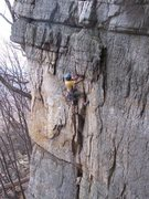 Rock Climbing Photo: Abe leading Double Crack in one pitch.