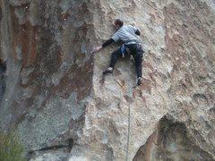 Rock Climbing Photo: Moving onto the face.