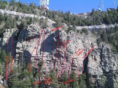 Rock Climbing Photo: Overview of Clandestine Wall showing routes.  Autu...
