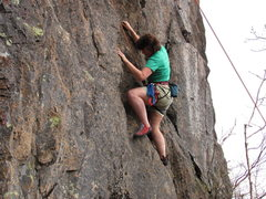 Rock Climbing Photo: Christina on her route Ruffled Feathers 5.7