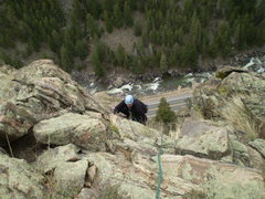 Rock Climbing Photo: Brian approaching the top shortly after bumping th...